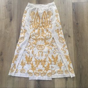 Free People double-slit embroidered maxi skirt!